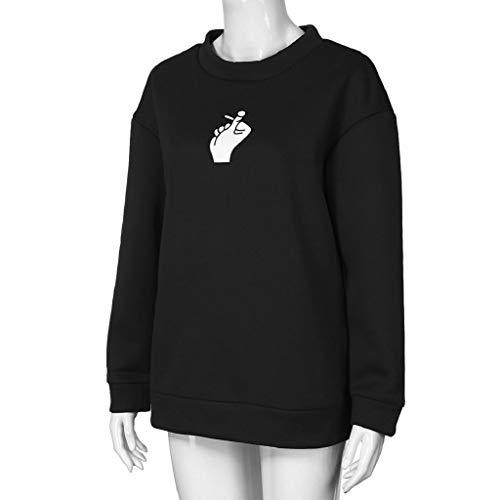 otoño Jerséis Grande Con Invierno Talla Impresión Mujer De Mujer Para Mujer Blusa Tops Largas Luckycat Sudaderas Negro Carta Capucha Camisetas Fx4Zqzwq