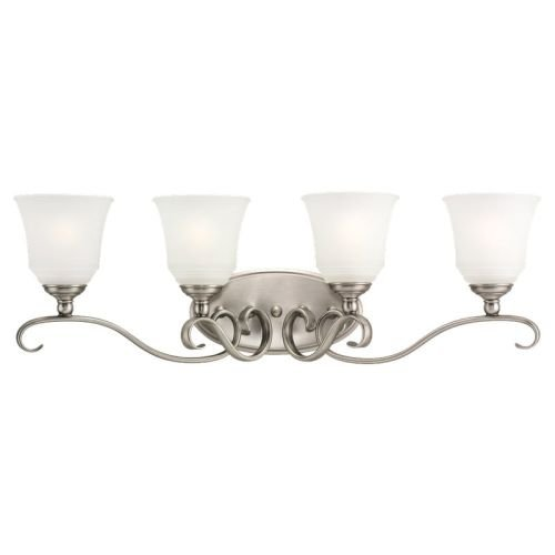Sea Gull Lighting 44382-965 Parkview Four-Light Bath or Wall Light Fixture with Satin Etched Glass Shades, Antique Brushed Nickel Finish by Sea Gull Lighting