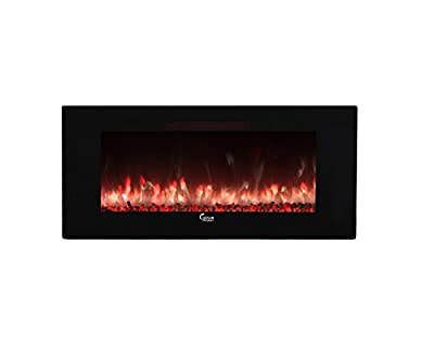 """Caesar Hardware Contemporary Luxury Linear Wall Mount Recess Freestanding Multicolor Flame Electric Fireplace, 50"""", Black"""