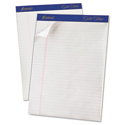 Gold Fibre Writing Pads, Legal/Legal Rule, Ltr, White, 50-Sheet Pads/Pack, Dozen, Total 6 DZ, Sold as 1 Carton by Ampad