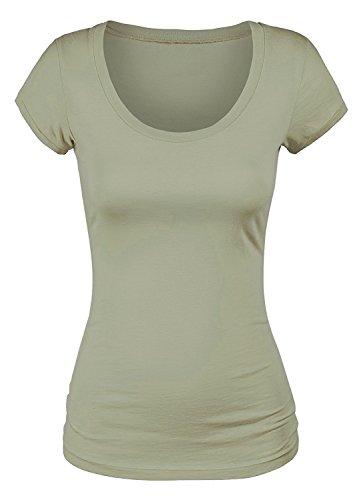 (Emmalise Women's Short Sleeve Tshirt Scoop Neck Tee Shirt (3XL, Light Olive))