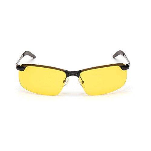 Gafas del LBY De Sol para De Polarizadas Color Sol Los Amarillo de Gafas Marco Hombre Hombres Metálico Negro xvpRwvUIq