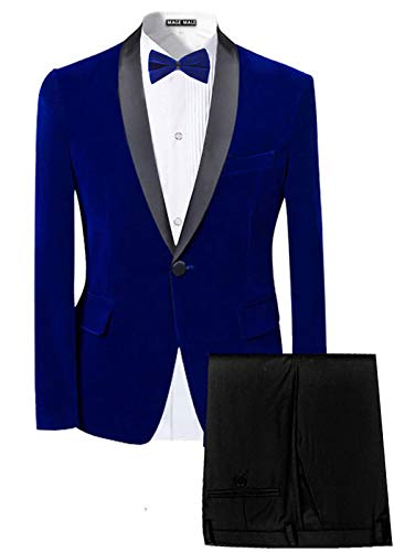 MAGE MALE Men's Slim Fit 2-Piece Suit Velvet Blazer for sale  Delivered anywhere in USA