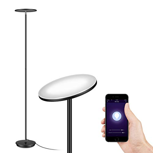 IESTARING LED Torchiere Floor Lamp-WiFi Smart Tall Standing Modern Pole Light for Living Rooms & Offices - Dimmable Uplight Compatible with Amazon Alexa&Google Assistant,Black