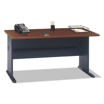 Bush Business Furniture Series A 60W Desk in Hansen Cherry and Galaxy - Dmi Furniture Office Hutch