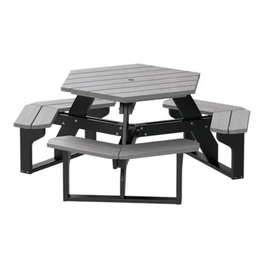 (Recycled Plastic Hex Table – Premium Wood Grain - Driftwood)