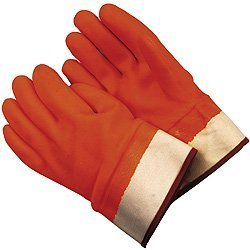 MCR Safety 6710FS Economy Single Dipped PVC Foam-Lined Men's Gloves with Rubberized Safety Cuffs, Orange/White, Large, 1-Pair by MCR Safety