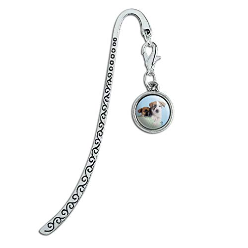 Jack Russell Terrier Puppies Dogs Gift Box Metal Bookmark Page Marker with Charm