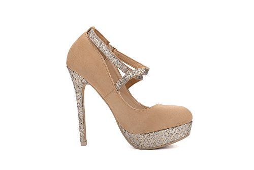 Mila Lady ELVA26 Women Fashion Embellished Sparkles Party Pumps High Heel Stilettos Sexy With Slim Strap Dress Shoes, Camel