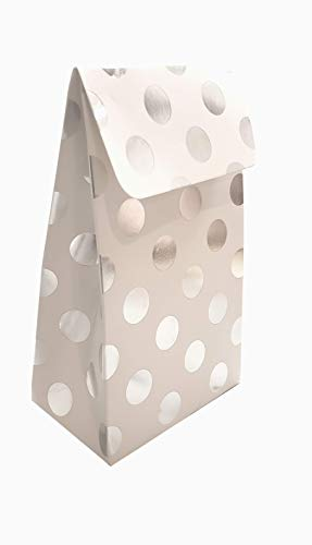 Perfect Party Favor Bags-Baby Showers, Wedding & Bridal Showers, Kids Birthday Parties; High Quality Heavyweight Paper Goodies/Treat Boxes; 24 Pack-White w/Silver Dots