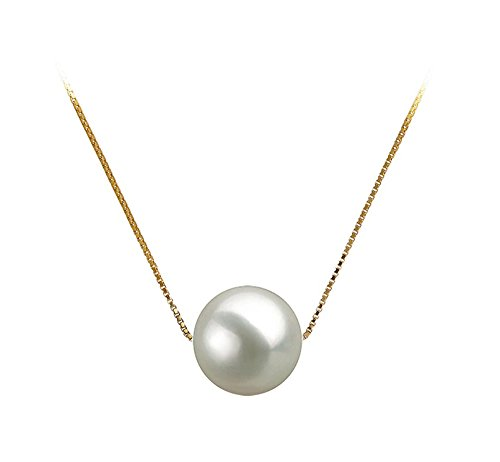 8mm White Freshwater Cultured Pearl Pendant Necklace 16