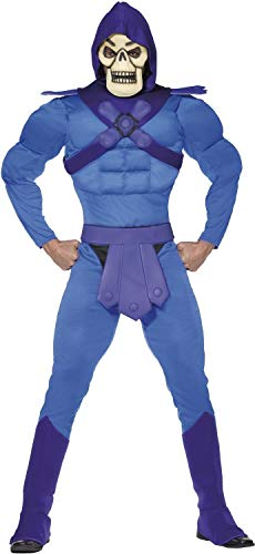 (Mens Deluxe Skeletor Villain 80s Retro Cartoon Stag Do Night Party TV Halloween Fancy Dress Costume Outfit)