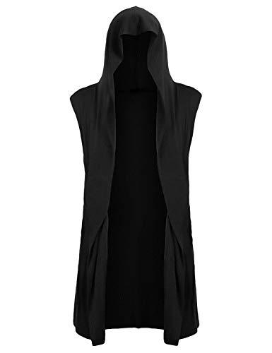 Mens Open Front Sleeveless Vest Draped Lightweight Hooded Cardigan Shawl Collar XL Black (Black Mens Hooded Vest)