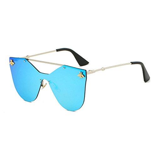 Lunettes Mme Blue GAOLIXIA Futuristic Wayfarer lunettes Bee Lunettes Métal de Rimless Personnalité Shield de Polygon soleil soleil Hommes Mirror Design qgCBxH