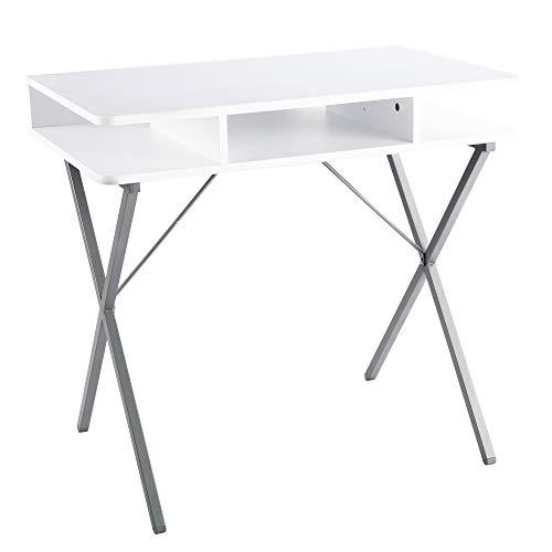 FIVEGIVEN Small White Computer Desk Modern Writing Desk