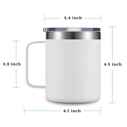 CIVAGO Stainless Steel Coffee Mug Cup with Handle, 12 oz Double Wall Vacuum Insulated Tumbler with Lid Travel Friendly (White, 4 Pack)