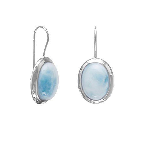 Rhod. P. Sterling Silver Wire Earrings 12mm X 16mm Large Oval Larimar Stones Drops 30mm 16x12mm Sterling Silver Oval Box