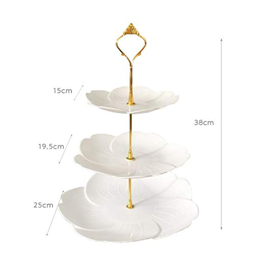 Elegant Birthday Cakes (Dalinana 2/3-Tiers Cake Stands,Square Pure Elegant Embossed Dessert Display White for Baby Shower Wedding Birthday Party Celebration Home Decor(24 x 37 cm))