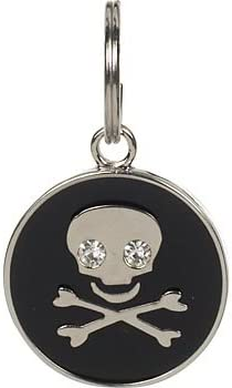 Dickens Closet 18 mm Black Enamel Skull Tag Charm, Color Silver