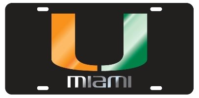 MIAMI HURRICANES Black Mirrored Auto License Plate Tag - Miami Hurricanes Car