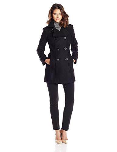 Anne Klein Women's Classic Double Breasted Wool Coat, Black, Black, Size Large Anne Klein Womens Trench Coat