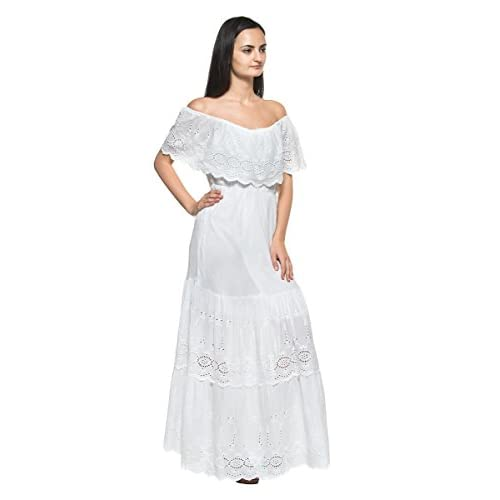 best Women s White Eyelet Ruffle Off Shoulder Mexican Peasant Boho Long  Maxi Dress 0f0889a4e