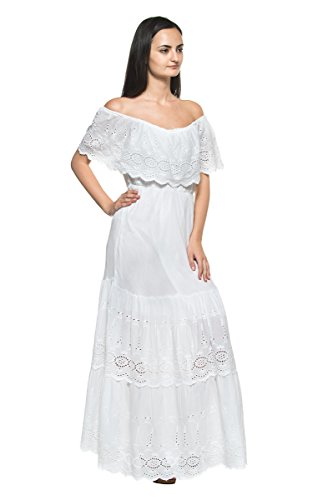 27753ab0019 Women s White Eyelet Ruffle Off Shoulder Mexican Peasant Boho Long Maxi  Dress - Delocus Store