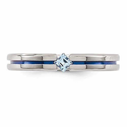 Edward Mirell Titanium Tension Set Blue Topaz and Blue Anodized 4mm Wedding Band - Size 5.5