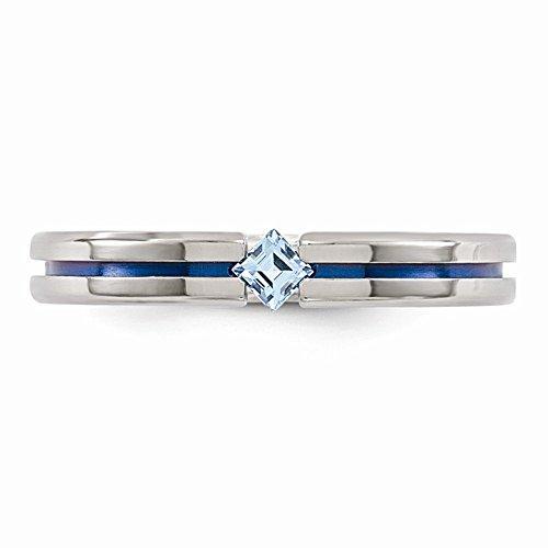 Edward Mirell Titanium Tension Set Blue Topaz and Blue Anodized 4mm Wedding Band - Size 5.5 by Edward Mirell
