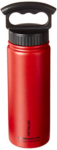 FIFTY/FIFTY Sport Water Bottle, 2 Finger Cap Narrow Cap, 25 oz/750ml, Cherry Red