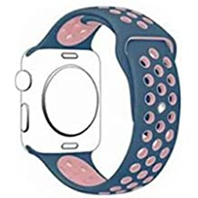 [New Soft Silicone Replacement Wristband ]Apple Watch Band 38mm, SACT Sports Strap with Buckle for Apple Watch Series 1/2/3 Version (CORAL BLUE X PINK)