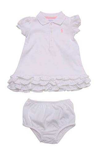 - Ralph Lauren Baby Girls' Ruffle Polo Dress w/Diaper cover White (12 Months)