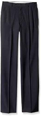 Tailored Worsted Wool Suit - Palm Beach Men's Expander Pleat Dress Pant Washable, Navy, 33W Short
