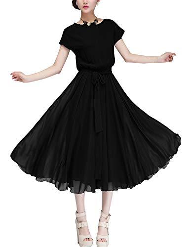 D.B.M Women's Loose Comfortable Bat Sleeve Elastic Waist Chiffon Dress (Small, Black)