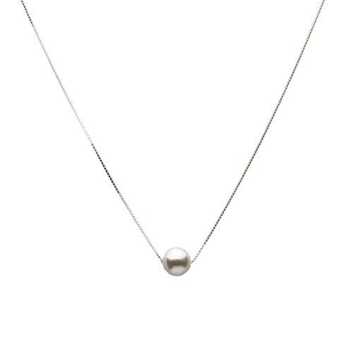 Sterling Silver Box Chain Necklace Simulated Pearl Made with Swarovski Crystals 20