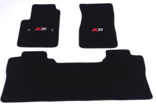 Chevy Silverado / GMC Sierra (Crew Cab) Black Custom Fit Carpet Floor Mat Set 3 Pc (2 Fronts / Rear Runner) with Z71 Logo on fronts - Fits 2014 & 2015 Crew Cab Carpet