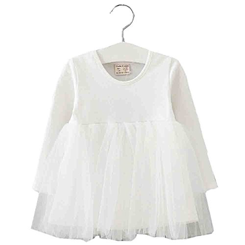 XUNYU Baby Girls Toddler Tutu Dress Long Sleeve Pink Infant Children Clothes Party Wear Pleated - Blue Dress And White Girl Baby
