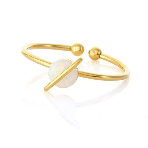 (LAONATO White Opal Planet Ring Plated Brass Adjustable Size)