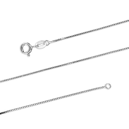 Sterling Silver 1mm Box Chain Necklace Solid Italian Nickel-Free, 15 Inch