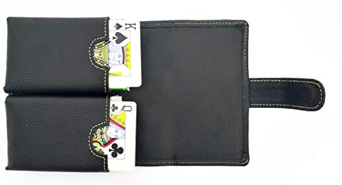 Chalk Factory Top Grained Antique Finish Leather Playing Card Deck Cover (Black) ()