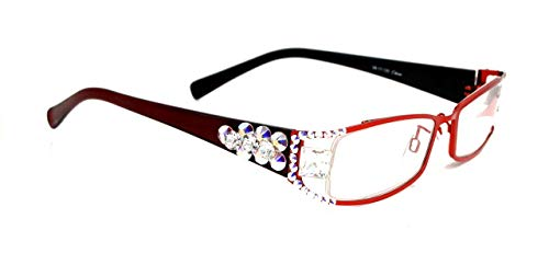 Lollapalooza, Bling Women Reading Glasses with AB (Aurora Borealis) and Clear Swarovski Crystals +1.25 +1.50 +1.75 +2 +2.25 +2.50 +2.75, Clear Square Fancy Crystal, RED and Black. NY Fifth Avenue. (Fifth Avenue Crystal Aurora)