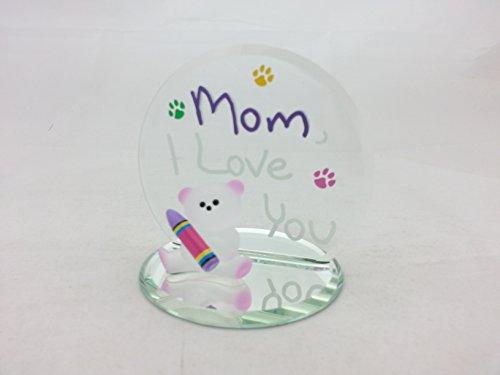 Love Glass Bear (Mom, I love you with Bear Glass Figurine)