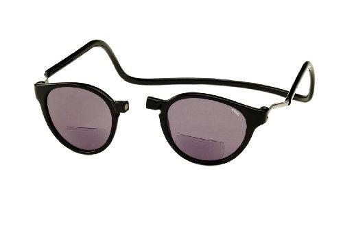 Clic Magnetic Eyeglasses Bi-Focal Reading Sunglasses in Black ; +2.00