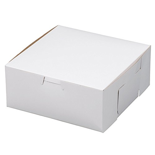 MT Products 7' x 7' x 3' Clay Coated Kraft Paperboard White Non-Window Lock Corner Bakery Box (Pack of 15)