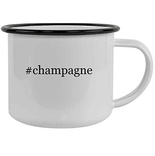 #champagne - 12oz Hashtag Stainless Steel Camping Mug, Black