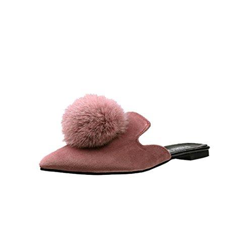 Fheaven Womens Sandal Sommar Färg Hår Boll Pekade Tå Platta Sandaler Toffel Rosa