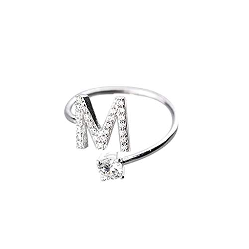 Orcbee  _Fashionable and Simple Opening 26 Letters with Diamond Ring Ladies Jewelry (M)