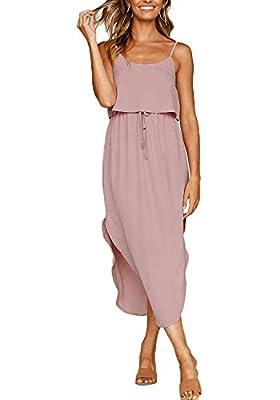 OURS Women's Casual Adjustable Spaghetti Straps Sleeveless Sundress Split Beach Midi Dress