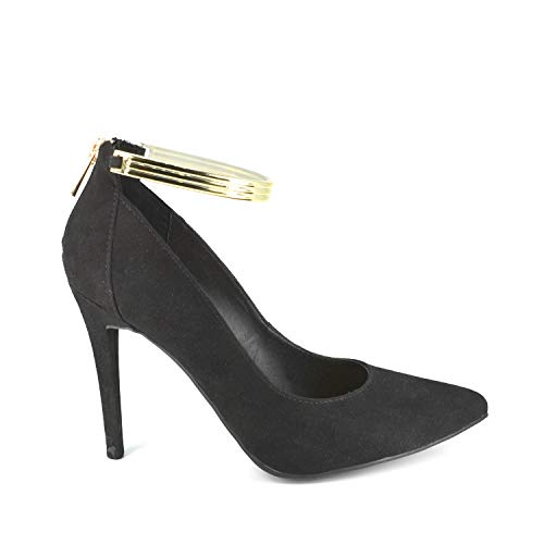 Anne Michelle Women's Black Heel Pointy-Toe Pump with Gold Ankle Strap and Zipper (9)
