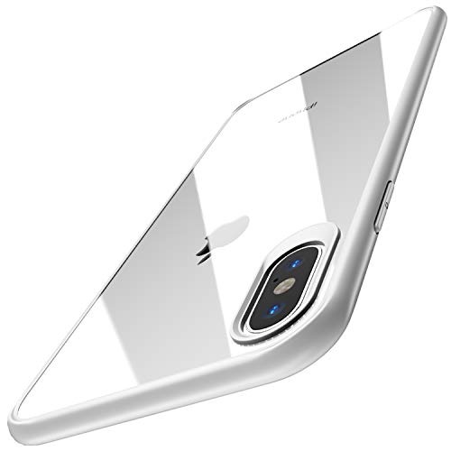TOZO for iPhone Xs Max Case 6.5 Inch (2018) Hybrid Soft Grip Matte Finish Clear Back Panel Ultra-Thin [Slim Thin Fit] Cover for iPhone Xs Max with [White Edge]